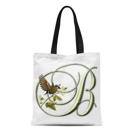 LADDKE Canvas Tote Bag Green Initial Songbird Monogram B Nature Bird Reusable Handbag Shoulder Grocery Shopping Bags](Initial Tote Bags)