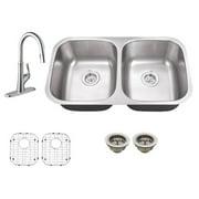 Schon SC967550 Double Basin Undermount Kitchen Sink Set