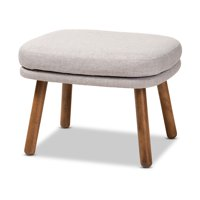 Baxton Studio Lovise Mid-Century Modern Greyish Beige Fabric Upholstered Walnut Brown Finished Wood Ottoman