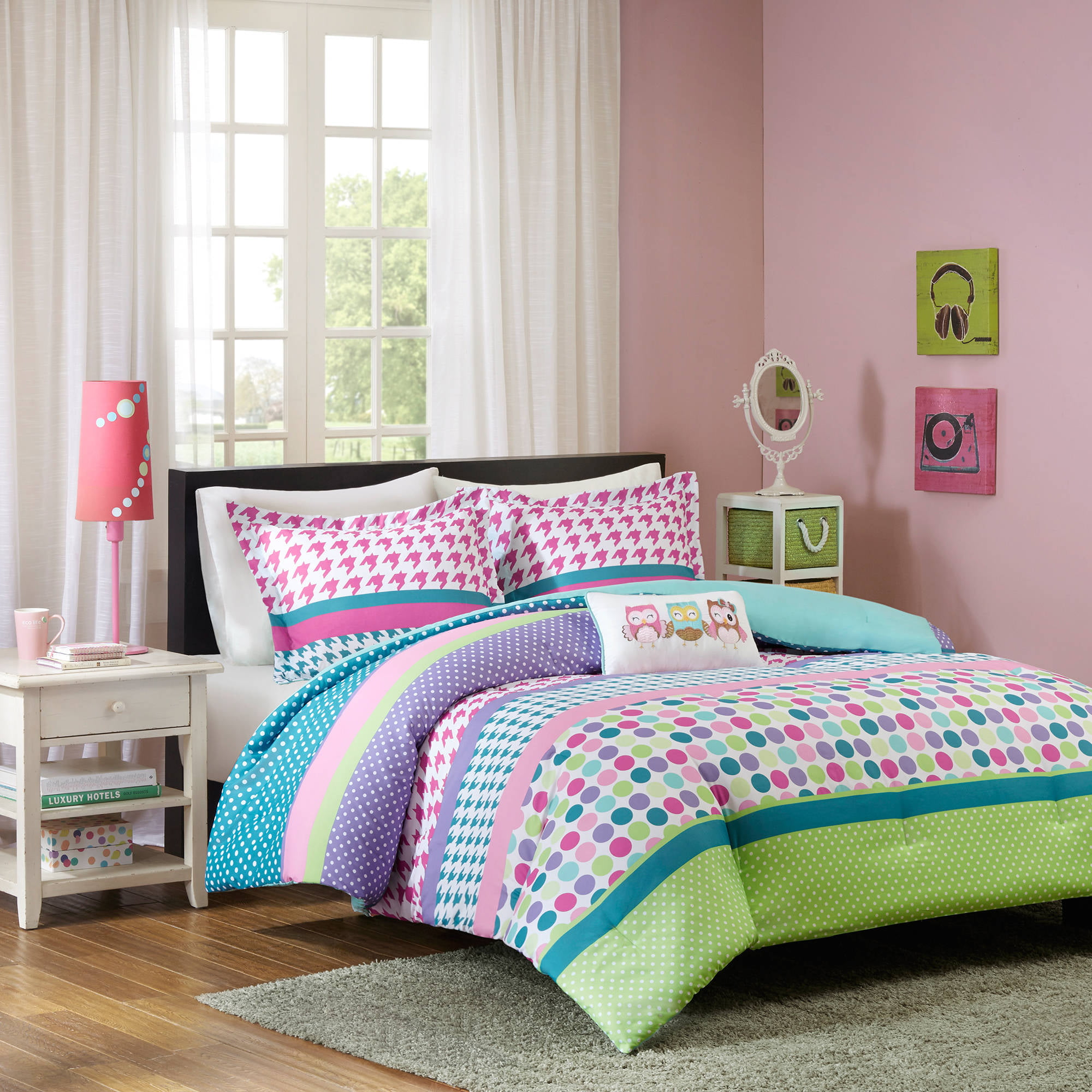 girls bedding Mainstays Kids Woodland Safari Girl Bed in a Bag Bedding Set - Walmart.com