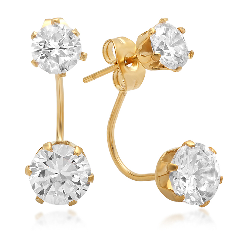 Fashion Jewelry Stainless Steel Gold Double Cubic Zirconia Hoop Stud Earrings
