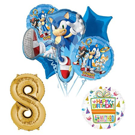Sonic The Hedgehog 8th Birthday Party Supplies and Balloon Decorations