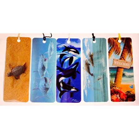 3D Welcome To Paradise - Motion Shark - Motion Jumping Dolphin – 3D Orcas - Motion Hatchling - Bookmarks with tassels For Kids - 3d Bookmarks For Kids