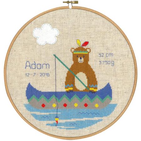"""Indian Bear In Canoe Birth Record On Aida Counted Cross Stit-9.6"""" Round 14 Count"""