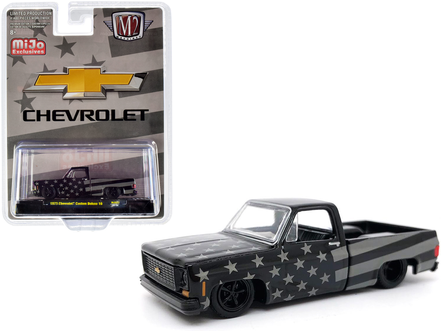1973 Chevrolet Custom Deluxe 10 Square Body Pickup Truck Black And Gray Limited Edition To 4400 Pieces Worldwide 1 64 Diecast Model Car By M2 Machines Walmart Com Walmart Com