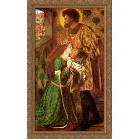 Saint George And The Princess Sabra 24X40 Large Gold Ornate Wood Framed Canvas Art By Dante Gabriel Rossetti