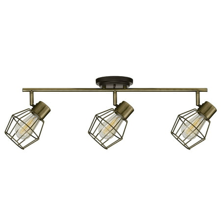 Globe Electric Jax 3-Light Antique Pewter Track Lighting, Bulbs Included, 59193 Diameter Circle Track Lighting