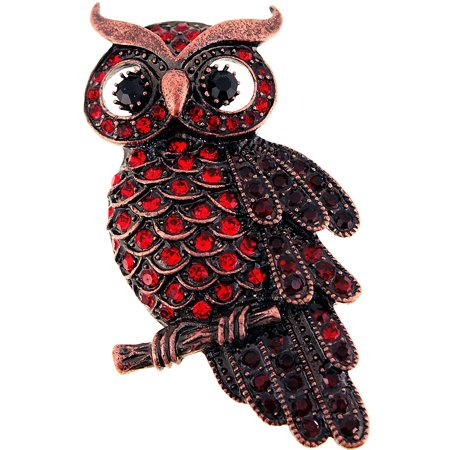 Vintage Style Ruby Red Owl Bird Crystal Pin