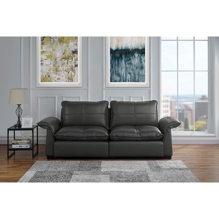 Swell Classic Living Room Tufted Leather Sofa With Adjustable Arm Rests Grey Interior Design Ideas Gentotthenellocom