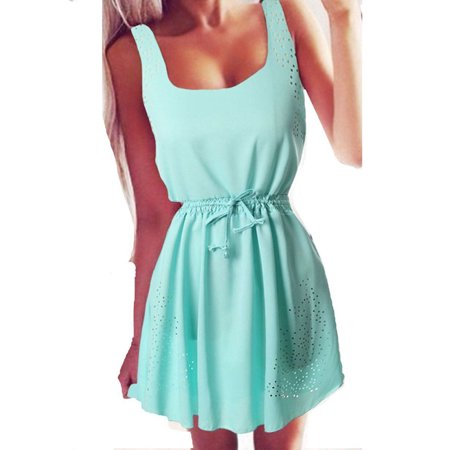 6b9c099e6331 Sexy Dance - Women Plus Size S-XXXL Summer Sexy Beach Dresses Chiffon  Sleeveless Casual Evening Cocktail Party Holiday Short Mini Dress -  Walmart.com
