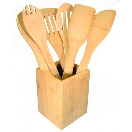 7-piece Bamboo Kitchen Cooking Utensils Set ( 6 Utensils Plus ...