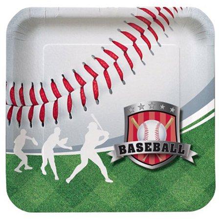 Baseball Paper Plates (Team Sports Baseball Large Square Paper Plates)