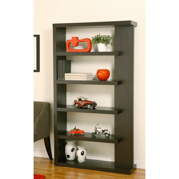 Linear 5-Shelf Cappuccino Finish Bookcase Display Shelf
