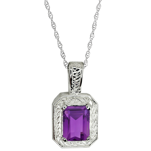 """1.50 Ct Oval Purple Amethyst Sterling Silver Pendant with 18"""" Silver Chain"""
