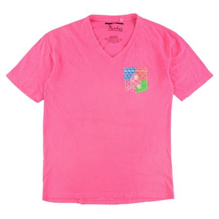 Press Box Womens Arizona State Sun Devils Patchwork V Neck T Shirt Pink