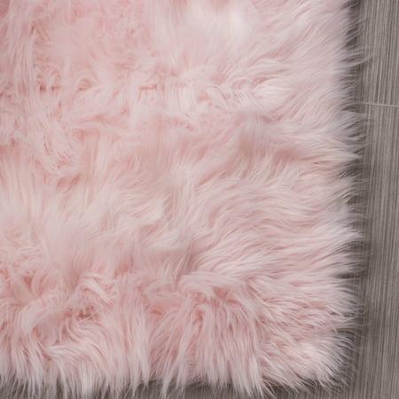 Ultra Soft Faux Sheepskin Fur Rug Ser01 Light Pink 4 X 6