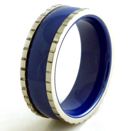 - Stainless Steel Ceramic Royal Blue Grooved Edge Wedding Band Ring