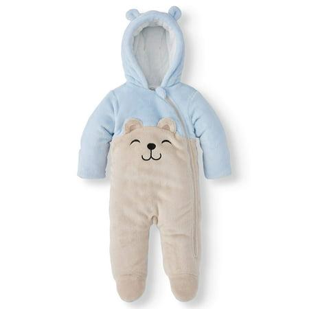 Wonder Nation Baby Boy Bear Ear Fleece Plush Snowsuit Pram