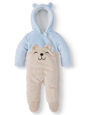 Wonder Nation Baby Boy Bear Ear Fleece Plush Snowsuit Pram