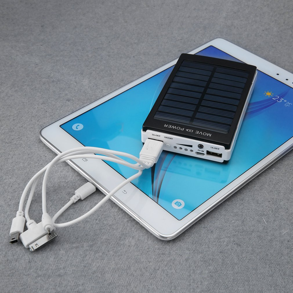 50000mAh Solar Power Bank Battery Charger Dual USB For Mobile Phone PDA MP3