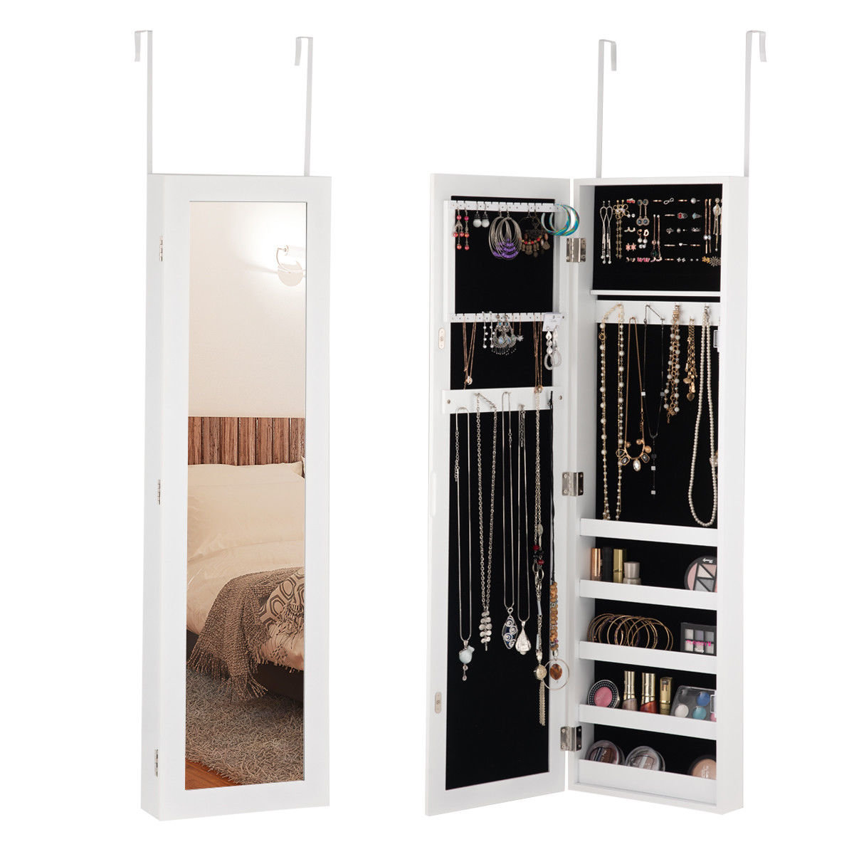 Costway Door Mounted Mirrored Jewelry Cabinet Armoire Storage Organizer
