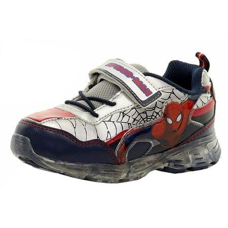 Spiderman Boy's Navy/Silver/Red Light Up Hook-&-Loop Sneakers Shoes Sz: 7T - Spiderman Light Up Sneakers