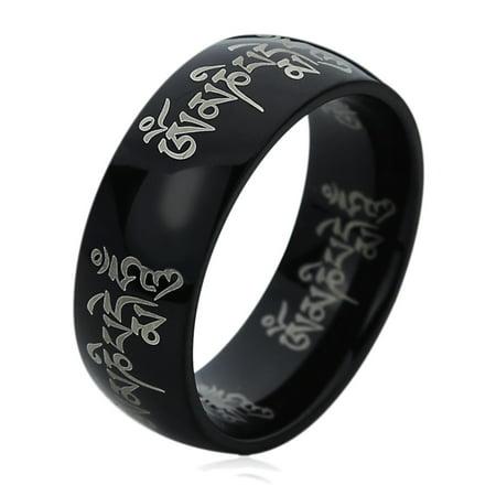 Men Women 8MM Titanium Comfort Fit Wedding Band Ring Tibetan Mantra Om Mani Padme Hum Black Ring (5 to 13)