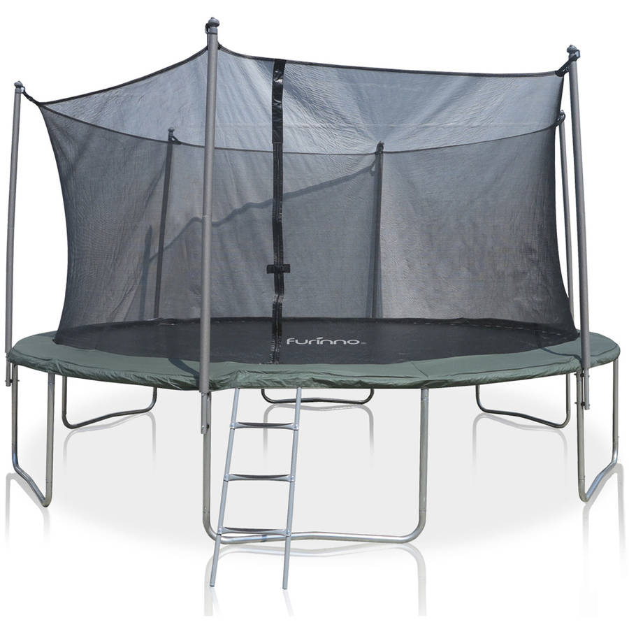 Furinno 15-Foot Trampoline, with Safety Enclosure and Ladder, Green
