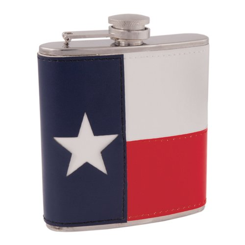 Pocket Flask, Small Texas Flag Flask Stainless Steel Leather Wrap - 6 Oz