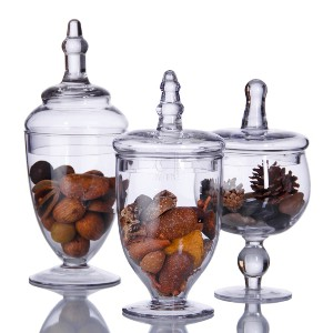 TERRA COLLECTION SET OF THREE ASSORTED MINI GLASS CANNISTERS Multi-Colored