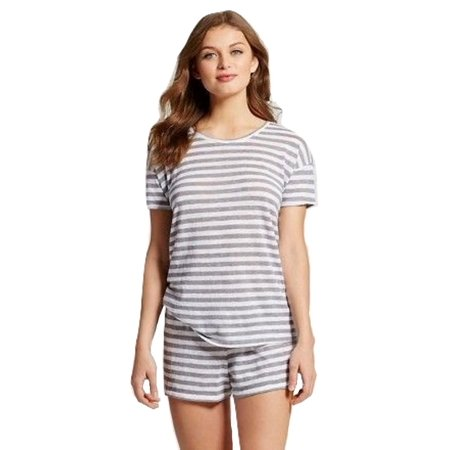 T-shirt Pj Set (Beaute Fashion Women's Junior Fit Sleepwear T-Shirt Short Set Lounge Set Pajama PJ (X-Large, Grey/White Stripe))