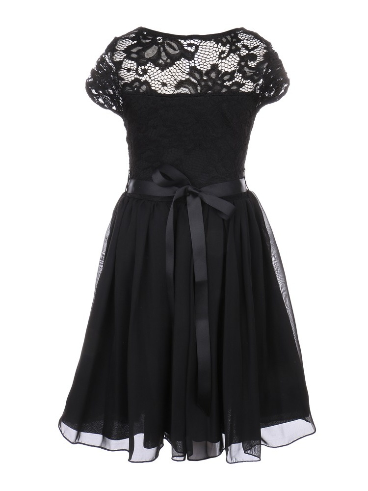 26b35086866b Just Kids - Little Girls Black Lace Stone Belt Chiffon Flower Girl ...