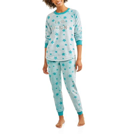 Secret Treasures Women's Applique Long Sleeve Top and Pant 2 Piece Pajama Set