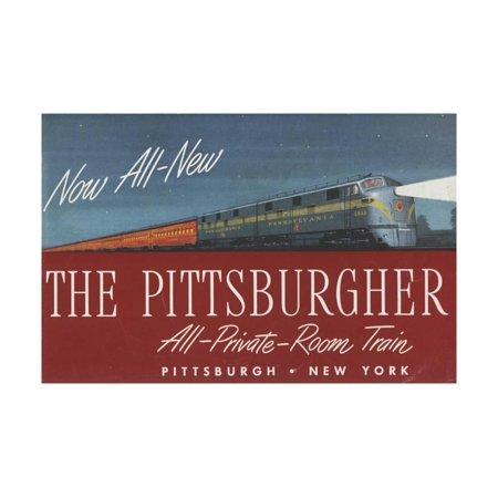 The Pittsburgher', Advertisement for the Pennsylvania Railroad Company, C.1948 Print Wall (Pennsylvania Railroad Company)