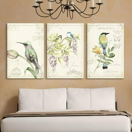 wall26 3 Panel Canvas Wall Art - Vintage Style Birds Flowers on Floral Background - Giclee Print Gallery Wrap Modern Home Decor Ready to Hang - 24