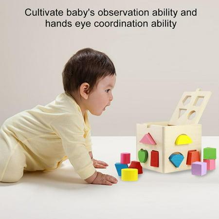 Ccdes Jouet éducatif géométrique, blocs de construction en bois, jeu intellectuel pour bébé de 13 trous de construction de blocs intellectuels - image 6 de 8