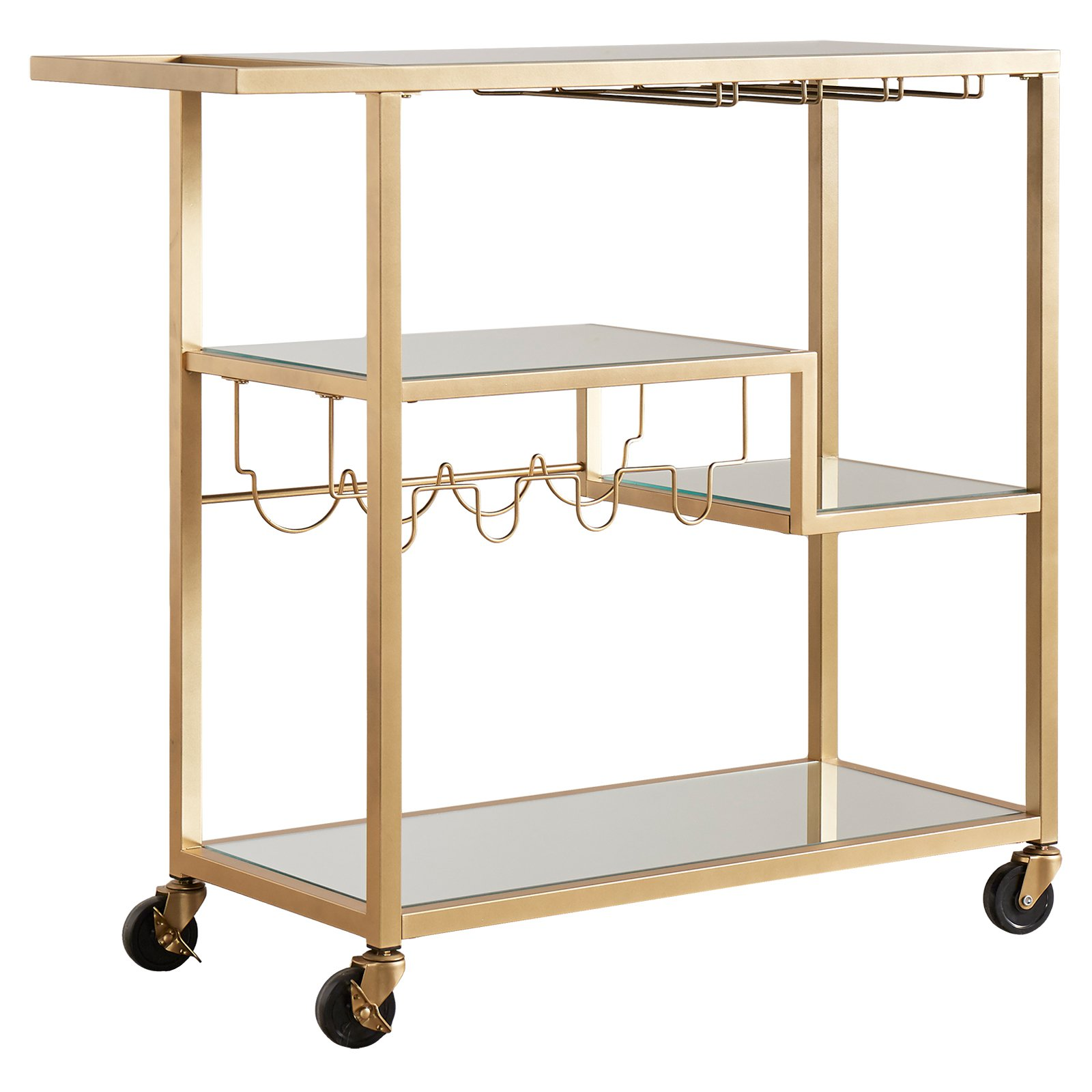 Chelsea Lane Champagne Gold Mirror Glass Metal Kitchen Cart