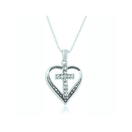 Inspirational Cross (Sterling Gifts Cross in Heart Rhinestone Necklace w/18 Inch Chain Christian)