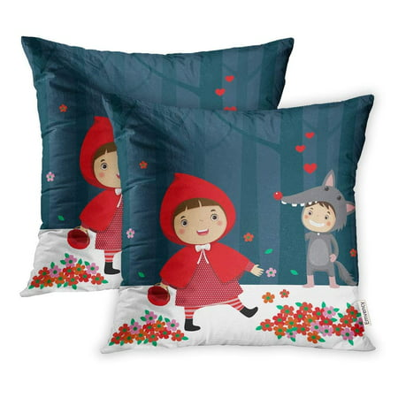 ARHOME Costume Little Red Riding Hood Gray Wolf Fable Kids Alone Animal Basket Boy Pillow Case Pillow Cover 18x18 inch Set of - Red Riding Hood And Wolf Couple Costume