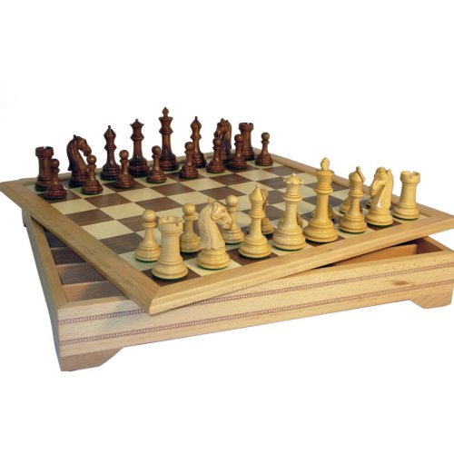 Camelot Sheesham and Boxwood Triple Weighted Chess Set