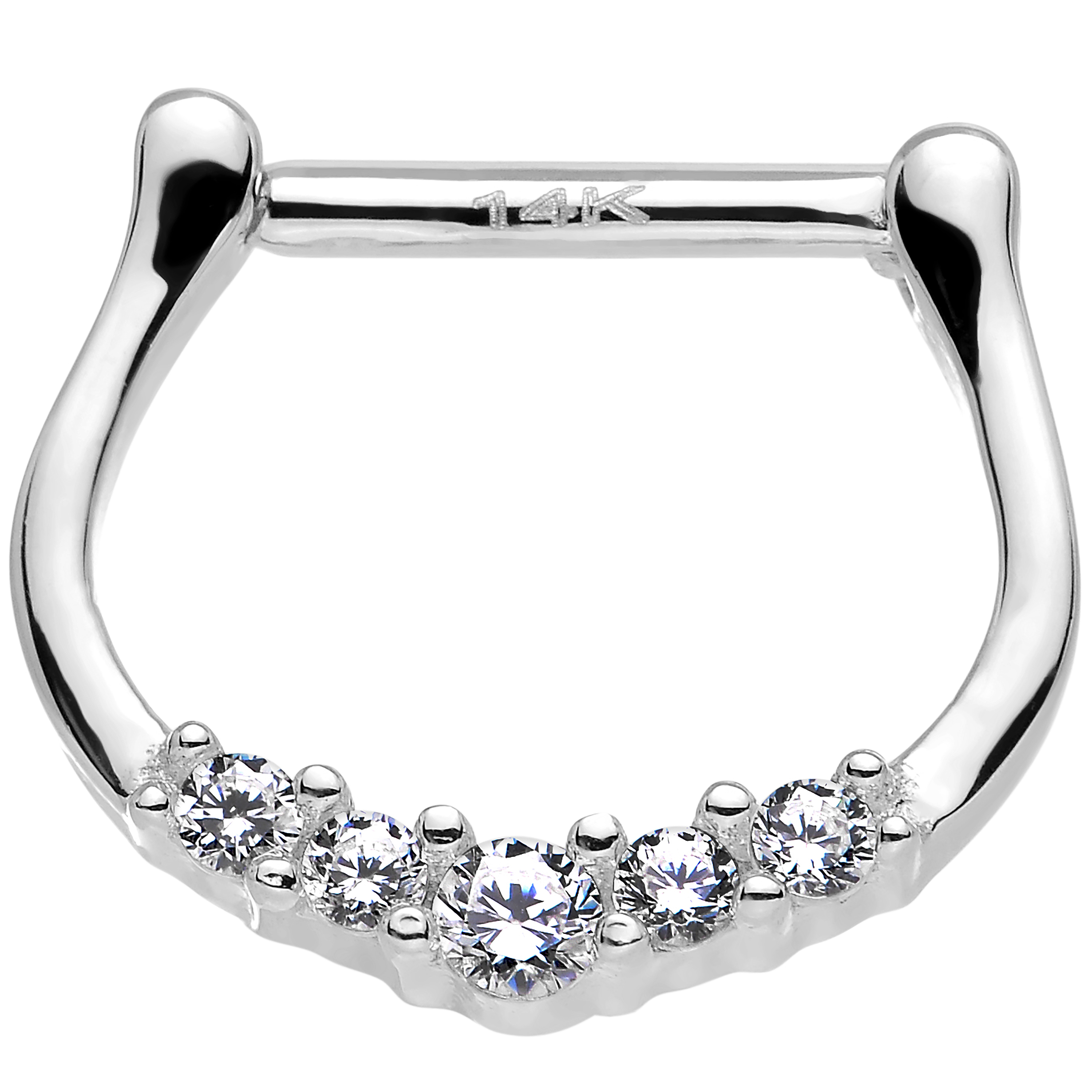 Body Candy 14k White Gold Clear Bijou Septum Clicker 16 G...