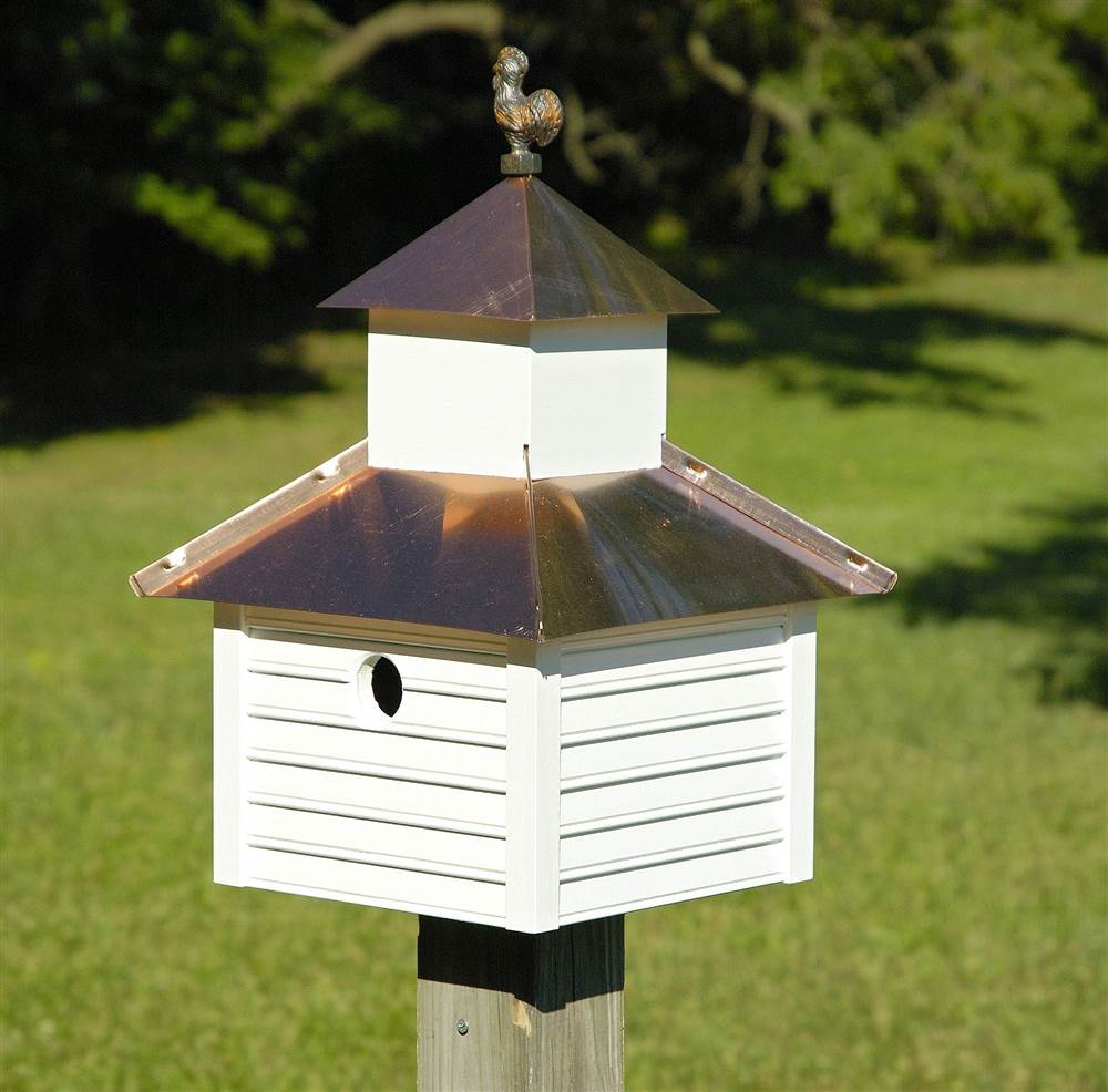 Rusty Rooster Bird House with White House Bright Copper Roof