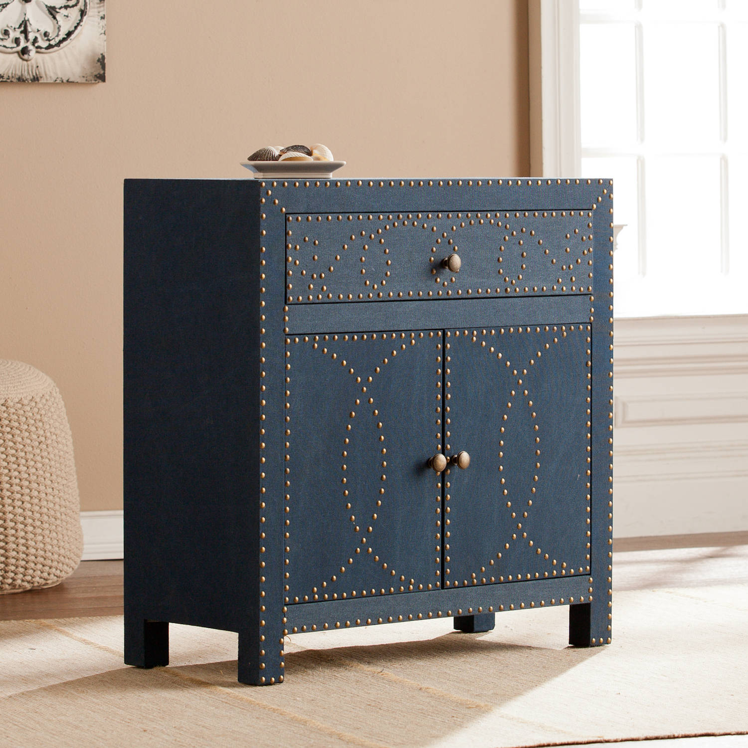 Southern Enterprises Studded Double-Door Cabinet, Navy