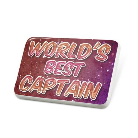 Porcelein Pin Worlds best Captain, happy sparkels Lapel Badge – (Best Captain In The World)