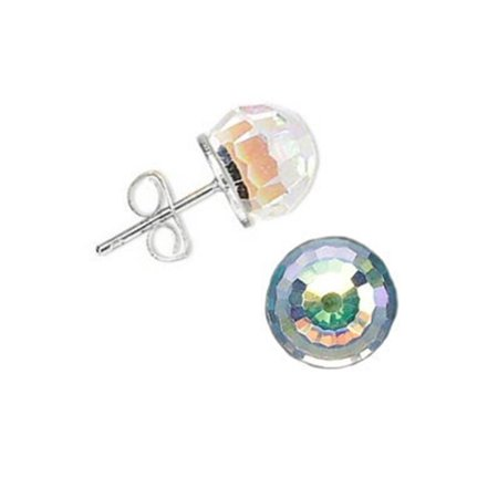 Crystal Ball Stud Earrings Sterling Silver 8mm Made With Swarovski R