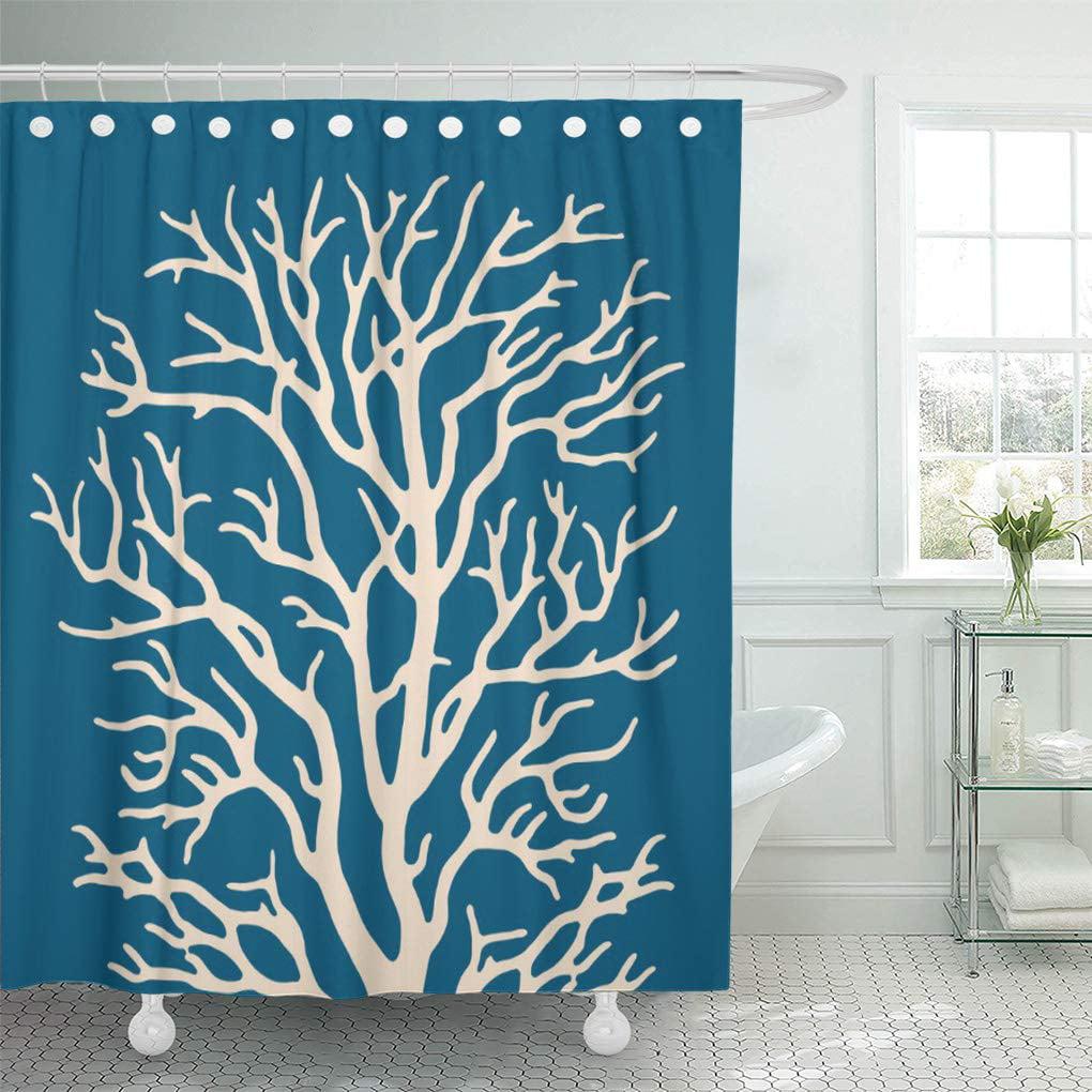 Coral Bathroom Ideas: CYNLON Reef Coral Tree In Cream On Teal Blue Nautical