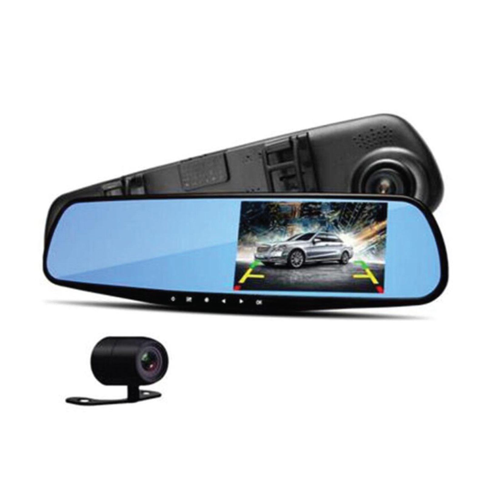 Pyle DVR Rearview Mirror Dash Cam Kit - Dual Camera Vehicle Video Recording System with Full HD 1080p