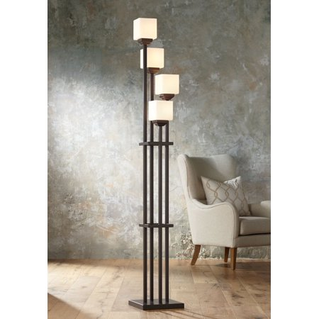 Franklin Iron Works Mission Torchiere Floor Lamp 4-Light Tree Bronze Iron Square-Sided White Glass Shades for Living Room (Shade Tree Glasses Coupon)