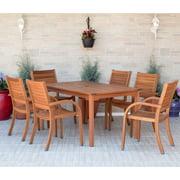 Amazonia Arizona 7-piece Patio Rectangular Table Dining Set | Eucalyptus Wood | Ideal for Outdoors and Indoors