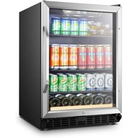 Lanbo 110 Can 6 Bottle Beverage Refrigerator Freestanding Built-in Wine Cooler with Stainless Steel Door Frame